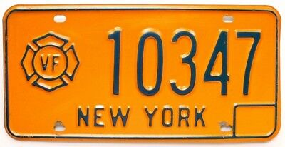 New York 1970s VOLUNTEER FIREFIGHTER License Plate, 10347, Fireman, Rescue Squad
