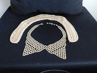 1 Vintage Glentex Faux Pearl collar and 1 Faux Pearl necklace in Ivory