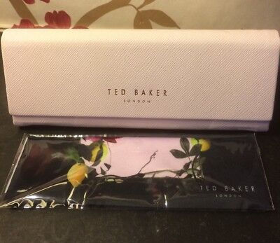 Pink Ted Baker Sun Glasses Case with Rose Gold Letters And Cleaning Cloth