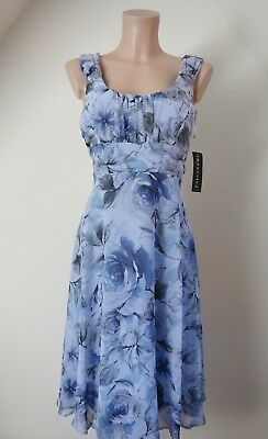 VINTAGE 50s BABY BLUE FLORAL INK DRAWING ROSE BRAND NEW ROMANTIC MIDI DRESS