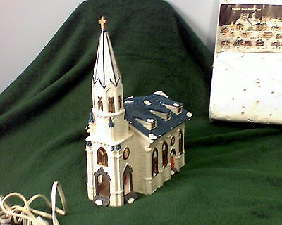 """Large Ceramic Lighted Christmas Church 1988 Almost  13"""" Tall"""