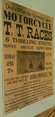 1930 Central Pa. Motorcycle Assoc. T.T. Race Duncansville Altoona Ad Poster Repo