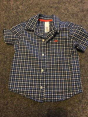 Carters Toddler Boys Blue Checked short sleeved Shirt Age 24m