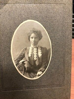 Antique African American Woman Victorian Cabinet Card Old Photo Black Americana