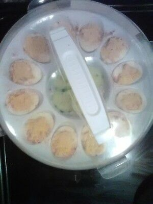 deviled egg container carrier tray and lid with handle