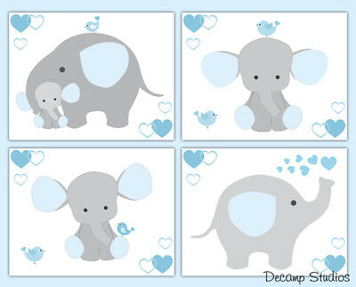 Blue Elephant Nursery Prints Baby Boy Wall Art Jungle Safari Animals Kids Room