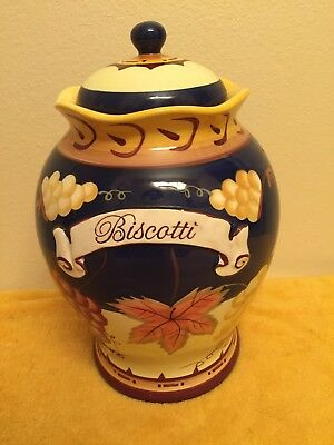 Nonni's Biscotti Jar Navy Blue with Fruit and Fall Leaves 3059