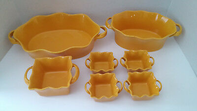 Set of 7 BIA Cordon Bleu Wavy Yellow Oval- Square Bakers New