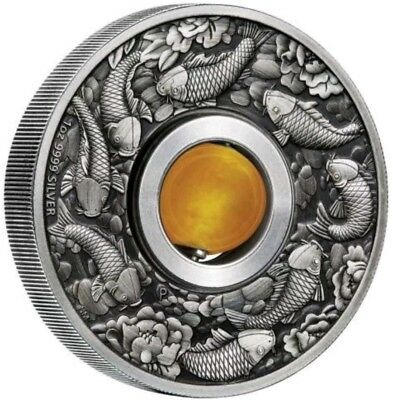 Tuvalu 2018 $1 ROTATING CHARM GOOD LUCK Topaz 1 Oz Silver Coin.
