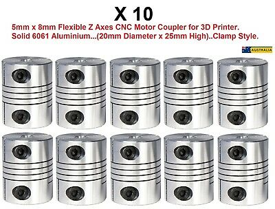 Motor Shaft Coupler 5mm x 8mm Flexible for 3D printer, CNC, Clamp Style, 10 Pack