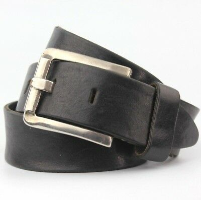 """Black Thick Real Leather Belt Vintage Retro 38mm Wide Fits 30-34"""" Waist"""