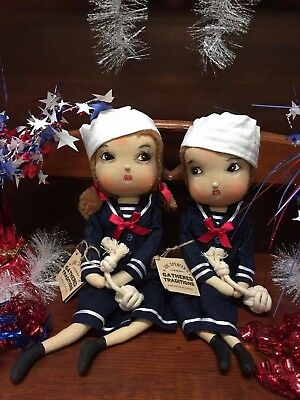 Joe Spencer Gathered Traditions Annie&Avery Sailor Girl&Boy:(Sold as a Set of 2)