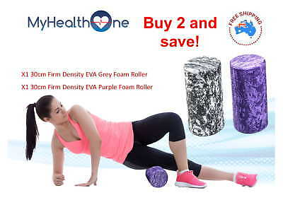 x2 30cm Firm Density Foam Rollers Grey and Purple - MyHealthOne Physio Grade