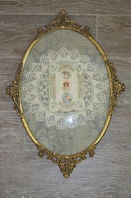 Antique Victorian  Ornate  Metal Frame Curved Glass With Valentine & Doiley