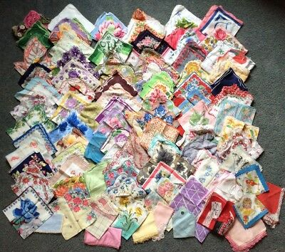 Lot 90 Vintage Ladies Handkerchiefs Floral Monogram Childs Crocheted Hankies