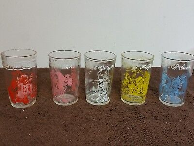 Lot of 5 Vintage Howdy Doody Welch's 1953 Jelly Juice Glasses