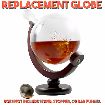 REPLACEMENT GLOBE Whiskey Decanter Globe Rum Wine Stainless Crystal Glass 850ml