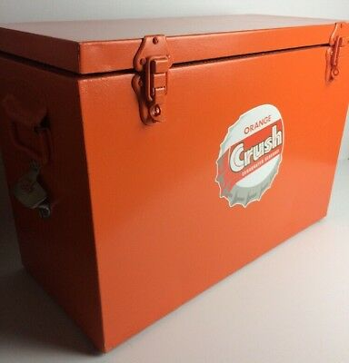 Vintage Cooler esky Chilly Bin Restored Orange Crush Opener VW Kombi RatRod