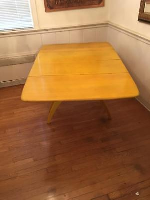 VntG Heywood Wakefield Spider Leg Dining Table With Leaves Dated 1960