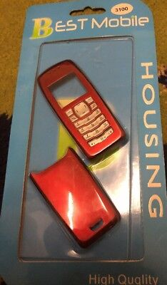 Nokia 3100 - Full Fascia Housing Cover Front Back Case Keypad Replacement - Red