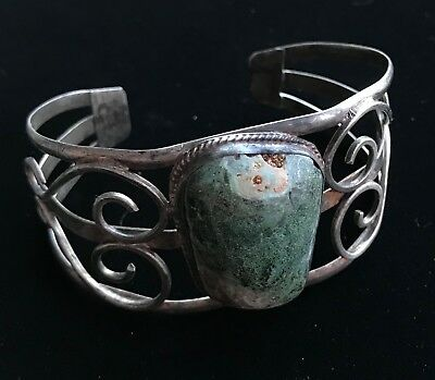 """Vtg Sterling Silver Turquoise Green Stone Cuff Bracelet MEXICO 7"""" 29.6g  M718"""