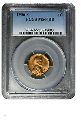 1936-S    Lincoln Cent    PCGS MS66 RED