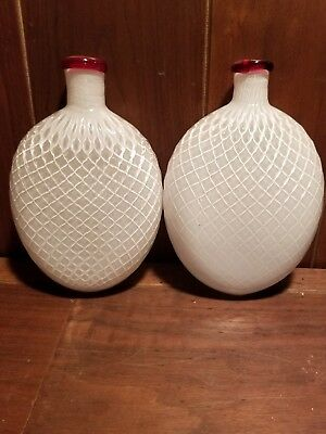 Pair of Vintage Art glass Murano Italian studio bottles rare experimental form