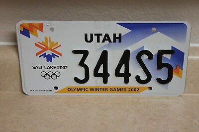 Utah 2002 Olympic Winter Games Passenger Plate 344S5     (Embossed)