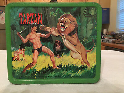 """1966 ALADDIN """"TARZAN"""" METAL LUNCHBOX and GLASS THERMOS - VINTAGE RARE -EXCELLENT"""