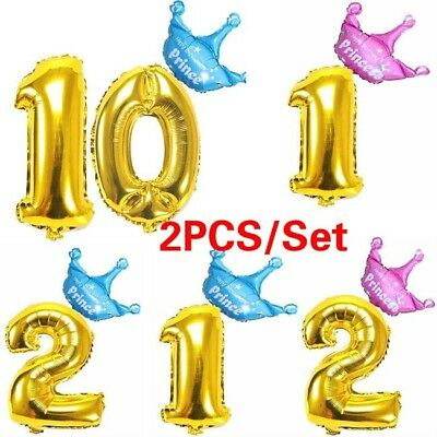 2PC/Set 32 Inch Baby Boys Girls Birthday Ballons Number Foil Balloon Party Decor