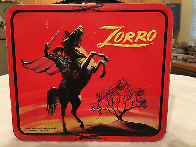 """1966 ALADDIN """"ZORRO"""" METAL LUNCHBOX and GLASS THERMOS - VINTAGE RARE -EXCELLENT"""