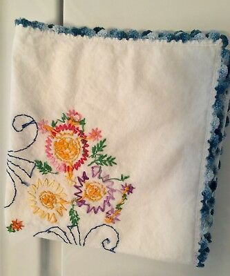 One Apron + Two Beautiful Vintage Embroidered Sm Tablecloths