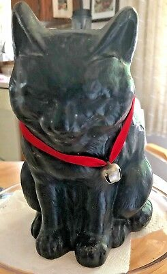 ANTIQUE Black CAT Sitting up DOORSTOP Closed EYES Screw back 2 piece CAST IRON