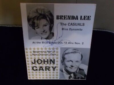 Collectible Table Tent Brenda Lee John Gary Roosevelt Hotel New Orleans
