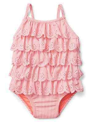 Baby Gap Girl's Pink Stripe Eyelet Ruffle One Piece Swim Suit NWT Sz. 6-12 M