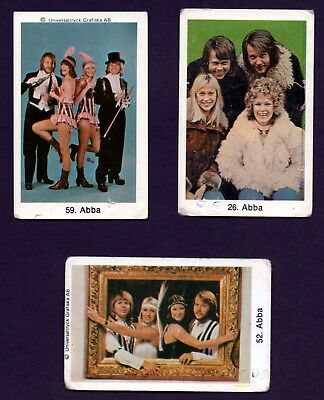 ABBA Trading Cards, Sweden, Lot of 3, Agnetha, Bjorn, Benny, Anni-Frid