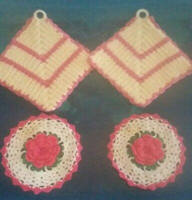 Vintage Hand Crocheted lot of 4 potholders. Pink and White.