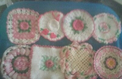 Vintage Hand Crocheted  Potholders. Lot of 8 Pink and White.