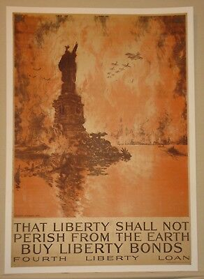 Original liberty loan bond poster linen First World War I WW1 WWi 1918 Pennell
