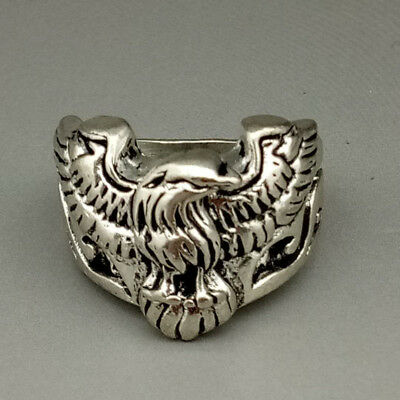 Chinese Collectable Tibet Silver Hand Carved Eagle Ring    M199
