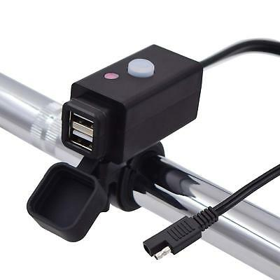 Motorcycle USB Charger Adapter Power Cable with SAE Connector and Power Switch