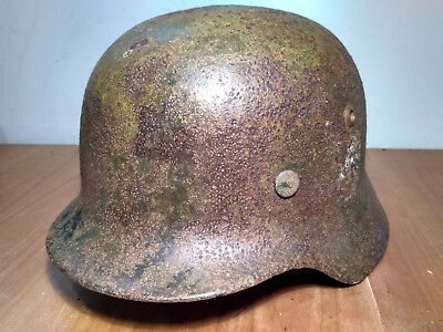 Original WWII German Elite M35 Double Decal Helmet ET 64 with Liner marked 1938
