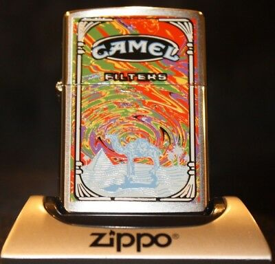 Camel Zippo - CZ 256 - Brushed Chrome Psychedelic Dust Storm - Mint in Box