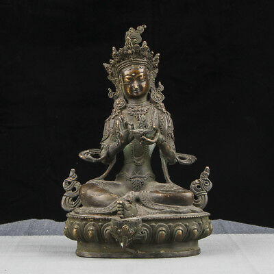 Awesome Unique Old Chinese Bronze Buddha Seated Statue Sculpture Mark AB009