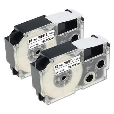 2PK Casio XR-18WE1 Compatible  Black on White  Label maker Tapes 3/4'' 18mm