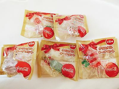 Coca-Cola Crystal Ornament All 5 Complet Set Promotions Christmas Rare F/S Japan