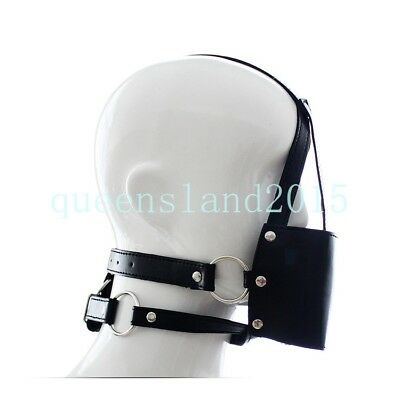 PU Leather Slave Face Mask + Breathable Open Mouth Ball Horse Harness Restraints