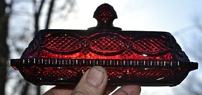 Ruby Red Glass Avon 1876 Cape Cod Pattern BUTTER DISH