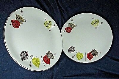 Vintage Alfred Meakin GAY FANTASY 2x. PLATES Leaves Pattern Mid Century 17.5CmW