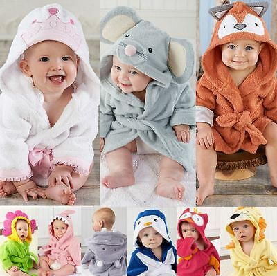 Baby Infant Hooded Towels  Bath Robe Beach Cover Ups Bath Hooded Towel